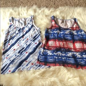 Two Faded Glory Patriotic Tanks NWOT XL